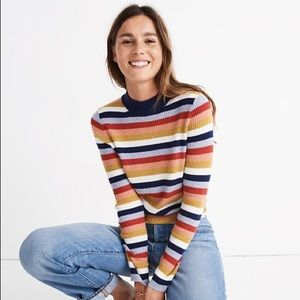 Madewell Mock Neck Rainbow Wool Sweater